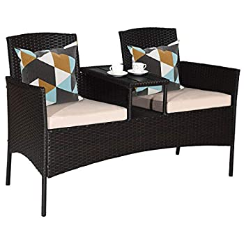 Tangkula Outdoor Rattan Loveseat Patio Conversation Set with Cushions & Table Modern Patio Furniture Set Wicker Sofa Set with Built-in Coffee Table Rattan Sofas for Garden Lawn Backyard
