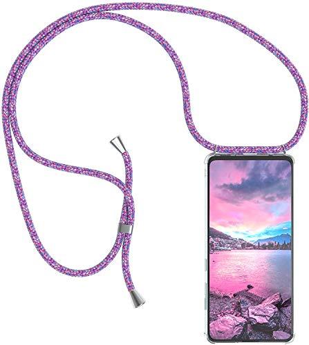 Funda con Cuerda para Samsung Galaxy S9 Plus/ S9+ Funda con Cadena para Teléfono Móvil con Correa Ajustable Transparente TPU Silicona Carcasa con Collar de Cordón Funda con Cordón de Colgar,Unicornio