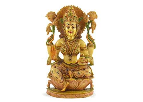 Hecho a mano en resina ídolo de la diosa Lakshmi pintada a mano
