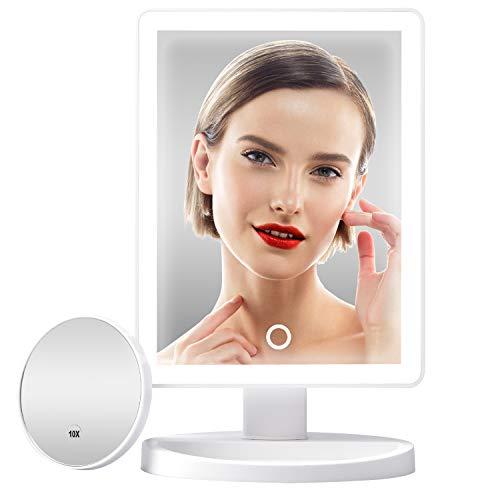 Gospire - Espejo cosmético con 37 luces LED, espejo de maquillaje iluminación antideslumbrante, brillo regulable, funciona batería y USB, giratorio, mesa para maquillaje, afeitado cuidado facial