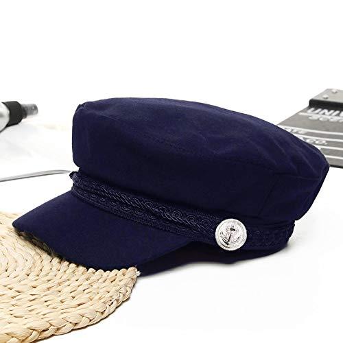 WAZHX Tendance Chapeaux d'hiver pour Femmes Style Français Laine Baker's Boy Chapeau Nouveau Cool Femmes Casquette De Baseball Noir Visière Chapeau Marine