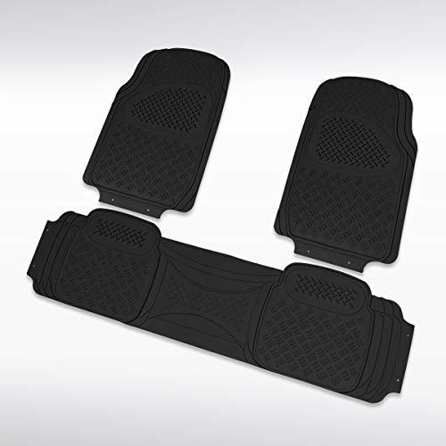 Autozensation 3PC Heavy Duty PVC Black Rubber 3D Floor Mat Front+Rear Truck Trim Semi-Custom