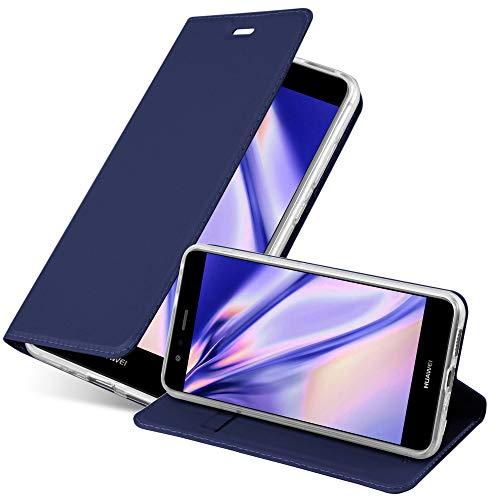 Cadorabo Custodia Libro per Huawei P10 LITE in CLASSY BLU SCURO – con Vani di Carte, Funzione Stand e Chiusura Magnetica – Portafoglio Cover Case Wallet Book Etui Protezione