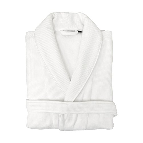 Linum Home Textiles Waffle Terry Robes 100% Authentic Turkish Cotton Luxury Spa Hotel Collection, L/XL, White