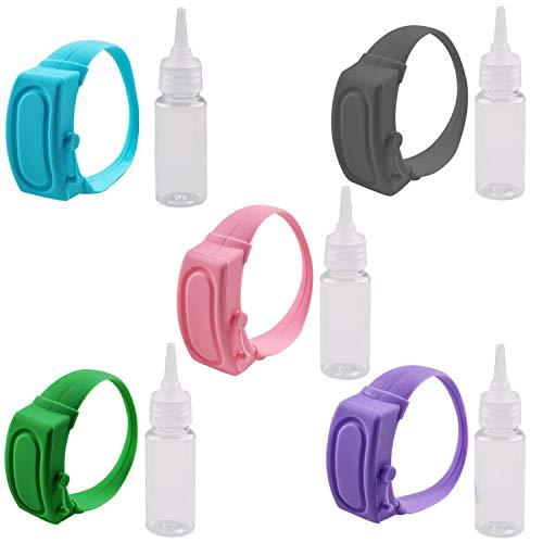5 Pezzi Dispenser di Braccialetto Disinfettante per Mani in Silicone Braccialetto Disinfettante Portatile Dispenser di Sapone Liquido Polso indossabile Contenitori da Viaggio Adulti Bambini