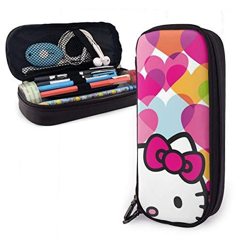 Federmäppchen Hello Kitty buntes Herz große Kapazität Federmäppchen Make-up Stifttasche Schreibwaren mit doppeltem Reißverschluss Stifthalter für Schule/Büro