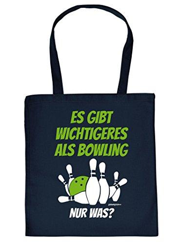 Coole Sporttasche Bowling / Kelgln Motiv : Es gibt wichtigeres als Bowling .. Baumwolltasche - Farbe. navy blau