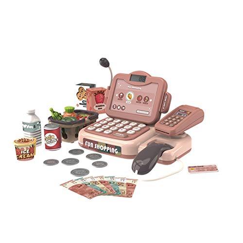 QuRRong Caja Registradora de Juguete Niños Pretender Play Simulation Shopping Toy Supermarket Cash Register Playset Kids Girls Educational Toy Regalo 14pcs para Niñas Niños Pequeños