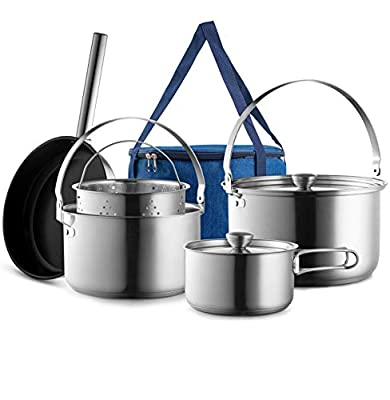 Camping Cookware Set 304 Stainless Steel 8-Piece Pots & Pans Open Fire Cooking Kit | Nonstick Frying Pan Steamer with Travel Tote Bag | Compact For Outdoors & Indoors Kitchen Family Campfire Hiking RV