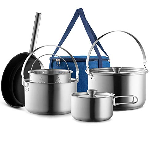 Camping Cookware Set 304 Stainless Steel 8-Piece