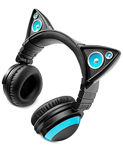 Auriculares anime forma de gato kawaii con luces LED