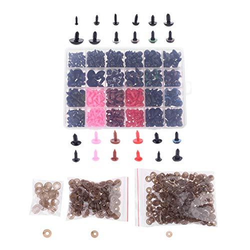 Gjyia Colorido 450 Piezas plástico artesanía Tornillo Seguridad Ojos Nariz 24 Rejilla muñeca DIY Kit