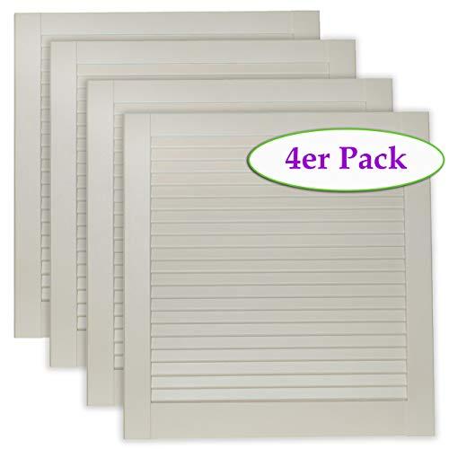 4-er Pack/Vier Stück Lamellentüren weiß seidenmatt mit geschlossenen Lamellen Kiefernholz 601 x 594 x 21 mm für Regale, Schränke, Möbel - EINBAUFERTIG grundiert & lackiert