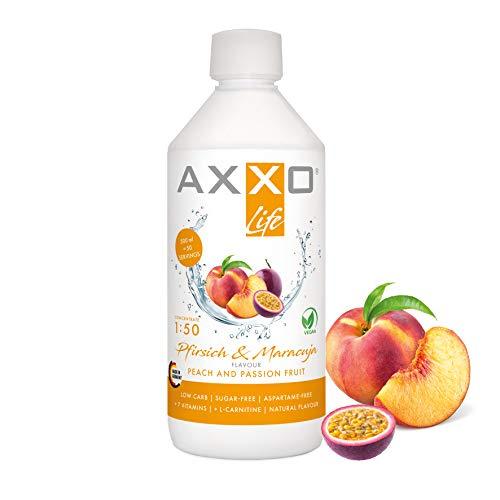AXXO Life Pfirsich & Maracuja - Getränkekonzentrat und Vitaminkonzentrat, 500 ml Flasche, Nahrungsergänzungsmittel für die ganze Familie mit 7 Vitaminen + Zink + L-Carnitin & Vegan