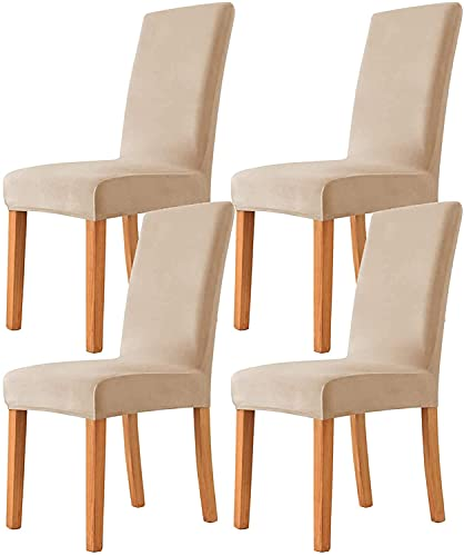 Yisss Sofabezug Stuhlhussen Esszimmerstuhlabdeckungen, Stretch-Stuhlabdeckungen, Samt-Stretch-Speisesauranthüllen, waschbar abnehmbare Parsons-Stuhlschutz (Color : Rice Gray, Size : 4 PCS)