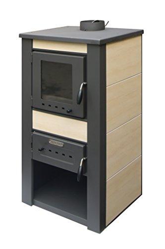 acerto 20074 ALPINA Kaminofen wasserführend, creme - 48x48x105 cm 13 kW für 80-100 qm Sichtfenster | Hochwertiger Schwedenofen für Holz, Briketts & Kohle | Moderner Holzofen für Kamin-Anschluss