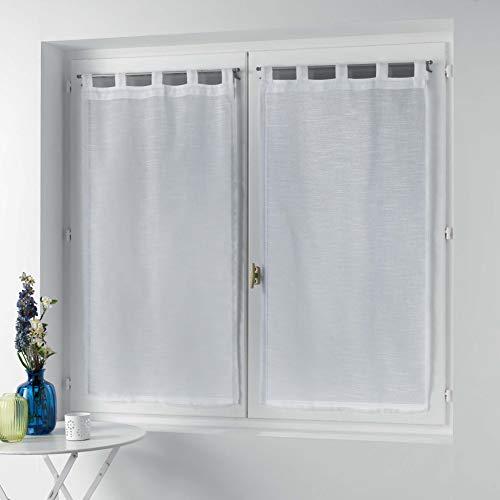 Coppia di tende con passanti 2 x 60 x 120 cm effetto lino tessuto Zazy bianco