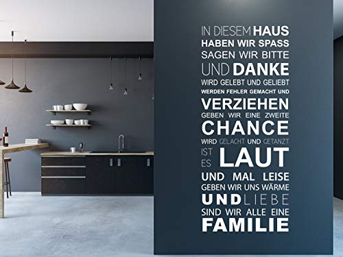 GRAZDesign Wandtattoo Spruch In diesem Haus als Wanddeko Wandaufkleber für Wohnzimmer Sprüche Dekoration Wohnung modern / 117x50cm / 070 schwarz