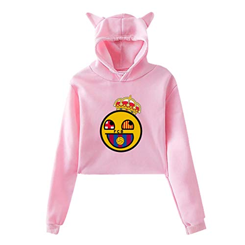 Seynorio Women Real Madrid Barcelona Logo Umbilicus Hooded Cat's Ear Long Sleeves Sweater Pink Large
