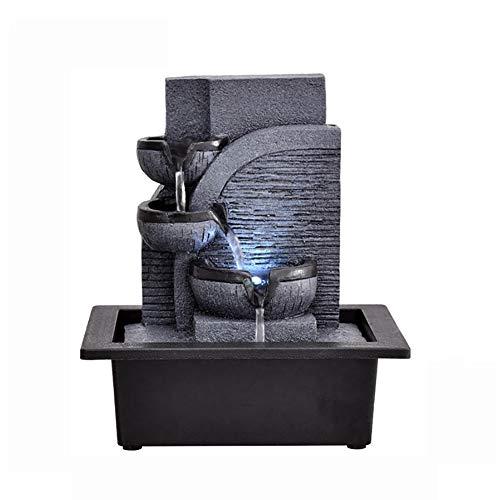 SFXYJ Fuente de Agua para Interiores con luz LED o Bola de Cristal mágica, Adornos de Piedras Preciosas de Feng Shui Ideal para Oficina, Sala de Estar, Dormitorio,D