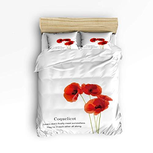 Butlerame Juego de sábanas de 3 Piezas Cierre Queen Size Simple Coquelicot Poppy White Juego de Funda de edredón Funda nórdica