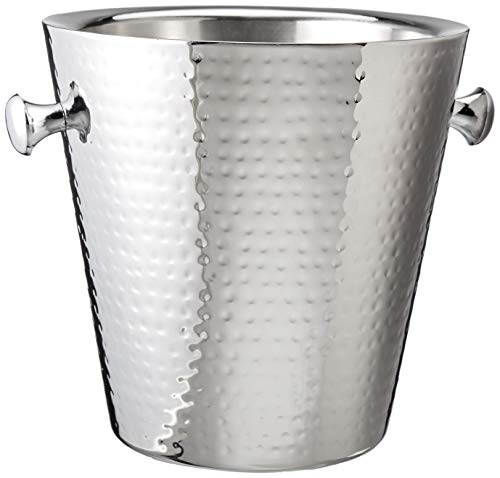Elegance Hammered Stainless Steel Doublewall Champagne Bucket, 9', Silver