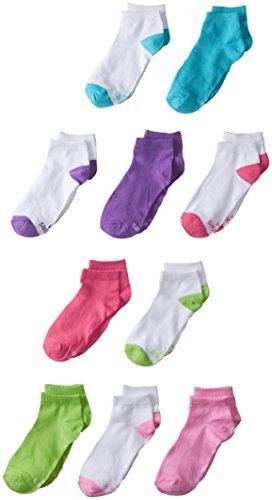 Hanes Girls' 10-Pack Low Cut Socks,half solid/half color heel/toe,Shoe Size 10 1/2-4