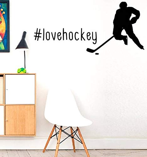 lovehockey - Rijden op ijs Check PlayWall Decal Muurcitaat Stickers Hockey Decal muur Vinyl Stickers DIY Art