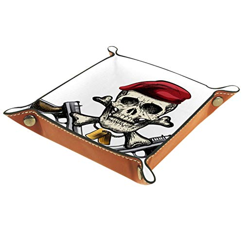 Leder Valet Tray, Würfel Tray Folding Square Holder, Kommode Organizer Platte für Change Coin Key Skull Pirate