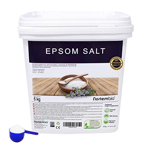 Nortembio Sale di Epsom 6 kg. Fonte Concentrata di Magnesio, Sale Naturale...