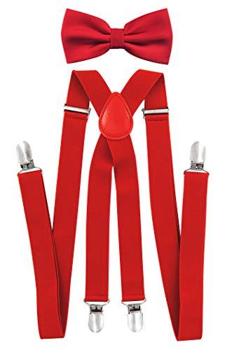 axy axy Herren X-Form Hosenträger mit Hochweritge Fliege - bereits gebunden, 4 Starken Clips HFL1A (Rot (Hosenträger Breit 2,5cm))