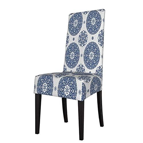 Fundas para sillas con Estampado Estilo rústico francés Vintage Alineado elástico Protector de Silla de Comedor Funda de Asiento para sillas
