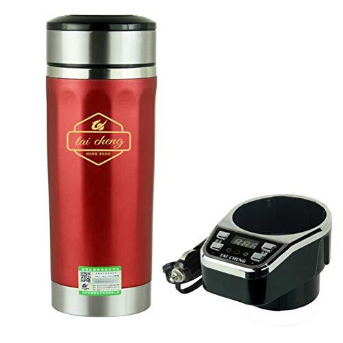 Intelligenter Auto-Wasserkocher 12 V, Reisebecher, 360 ml, angetrieben durch Zigarettenanzünder-Ladegerät, bequem zu bedienen, schnell kochendes Wasser erhitzen. L rot