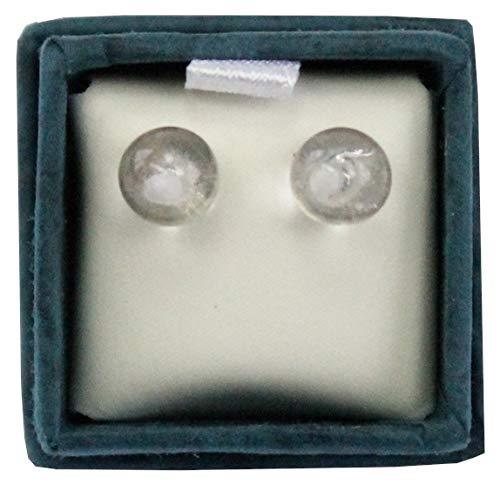 Oorbellen parels bergkristal 6 mm