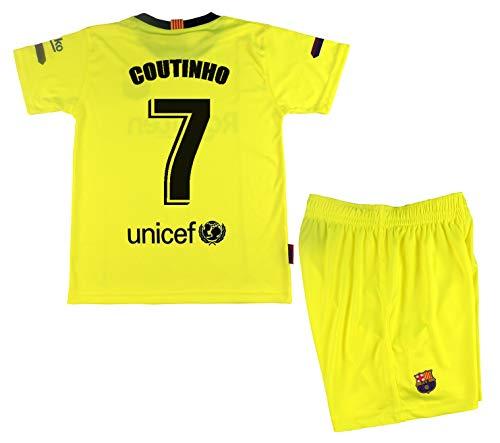 Coutinho Trikot und Hose für Kinder FC Barcelona, Neongelb, offizielle Replik, Gelb (Amarillo Fluor), Talla 14