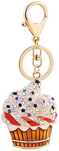 LLZYZJ Car Key Pendant crystal ice cream Cute sweet personality cylinder ice cream bag pendant accessories key ring charm