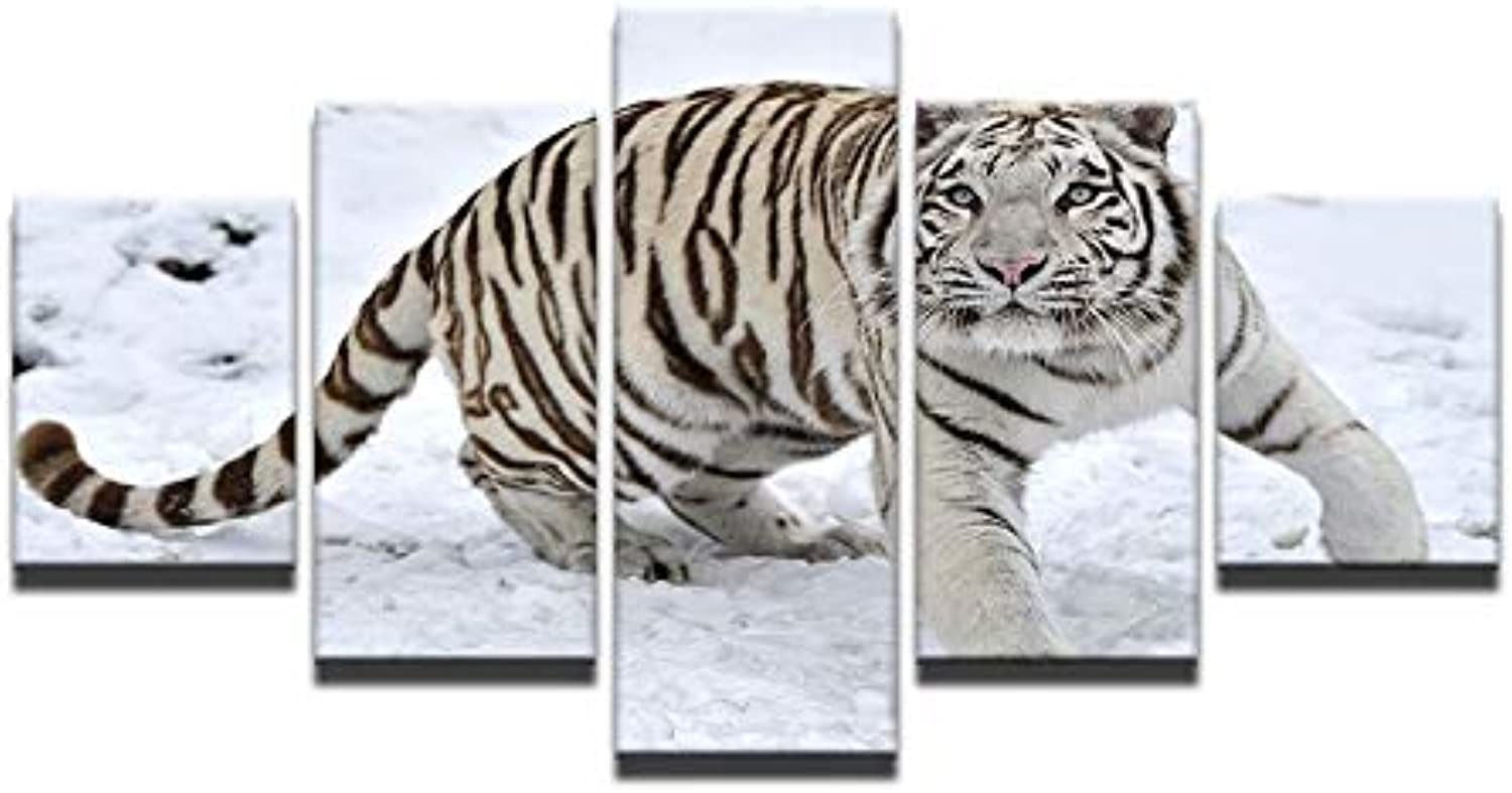 HD 5 Pieces Canvas Paintings Printed White Tiger Snow Mountain Wall Art Canvas Modular Living Room Bedroom Home Decoration