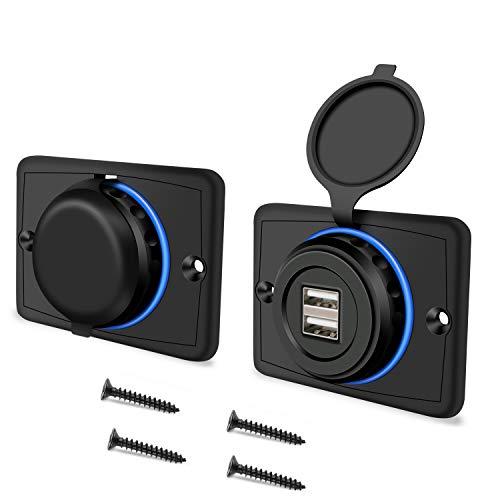 Grneric YGL Toma de Cargador de Coche Dual Puertos USB Impermeable, Enchufe USB Empotrable de 12 V / 24 V, para Motos, Barcos, Camiones, RVs (2 Paquetes)