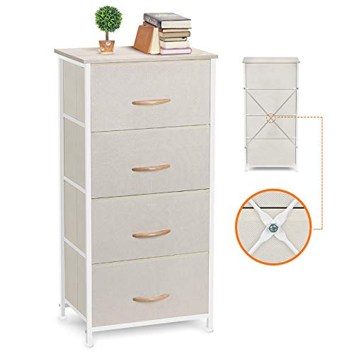 COSYLAND 4 Drawer Wardrobe Storage Organizer Tower Unit DIY Fabric Cabinet Multi-Purpose Chest of Drawers for Closet Bedroom Living Room Office, 45x30x92CM, Beige