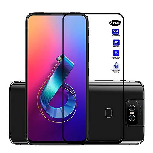 XMTON Asus Zenfone 6 ZS630KL,Asus Zenfone 6z,Asus Zenfone 6 2019 Bildschirmschutzfolie,Full Coverage 0,3mm Dünn,9H Festigkeitgrad,Ultra-klar Glasfolie Bildschirm Schutz Folie für Zenfone 6 ZS630KL (Schwarz-2)