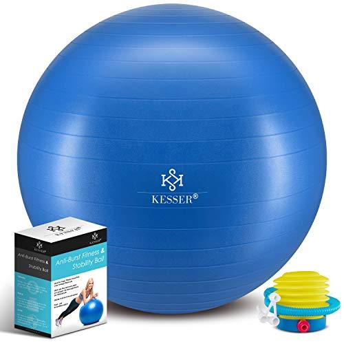 KESSER® Gymnastikball mit Luftpumpe Pumpe - Dicker Yogaball 65cm BPA-Frei | Sitzball Büro Anti-Burst als Fitness Yoga Core Büro-Stuhl als Fitness Kleingeräte, Balance Stuhl Gym-Home-Büro, Blau