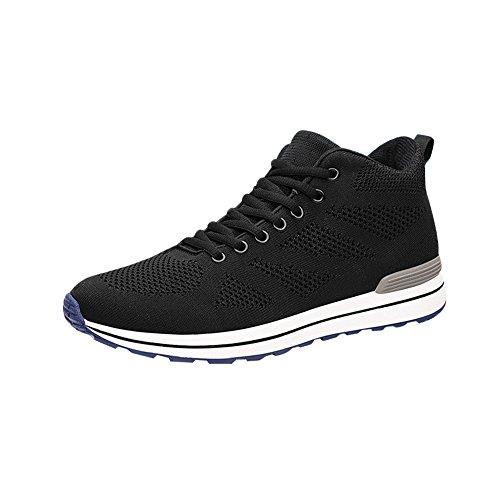 [MERLIN] 8cmUP スケートボードシューズ スニーカー 軽量 クッション性 シークレットシューズ スポ ーツシューズ 運動靴 (26.5, ブラック)