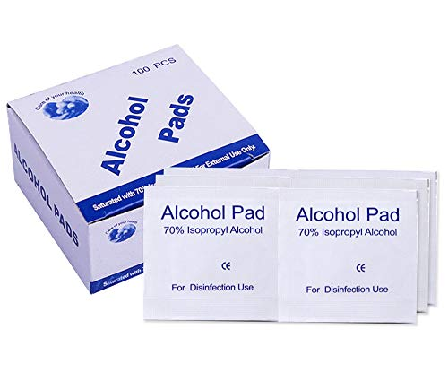 100 Pcs 70% Alcohol Cotton Slices, Alcohol Gauze Pads Individually Wrapped Swap Pad for Cleaning Care Mobile Phone Nail Computer 6 x 6cm/2.4in x 2.4in
