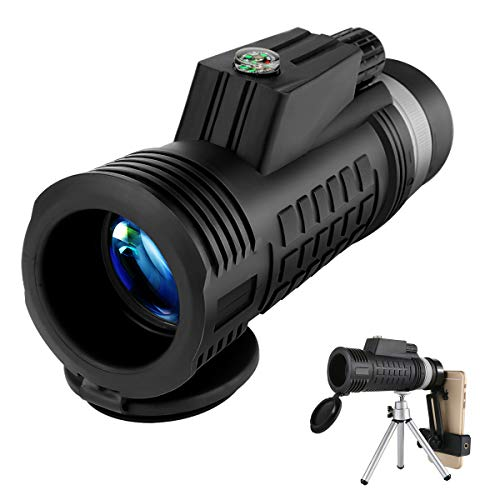 Allnice Monocular Telescope 40x60 Portable Monocular with Phone Holder and Tripod Waterproof Monocular with Durable and Clear FMC BAK-7 Prism for Bird Watching Camping Hiking Match Concert