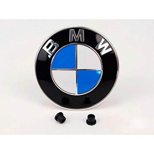 Emblem für die Motorhaube oder Hecklappe 82mm Weiß Blau mit 2 Tüllen für befestigung E32 E34 E36 E38 E39 E46 E90 E91 E93 E60 E81 E87 E88 E65 E66 F01 F03 G11 X1 X3 X5 X6