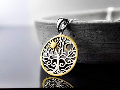 925 Sterling Silber Kette | Sonne & Mond & Lebensbaum | 70cm | handvergoldet | Exklusive Schmuckschachtel Geschenkverpackung | Spiritueller Lebensbegleiter aus Echtsilber