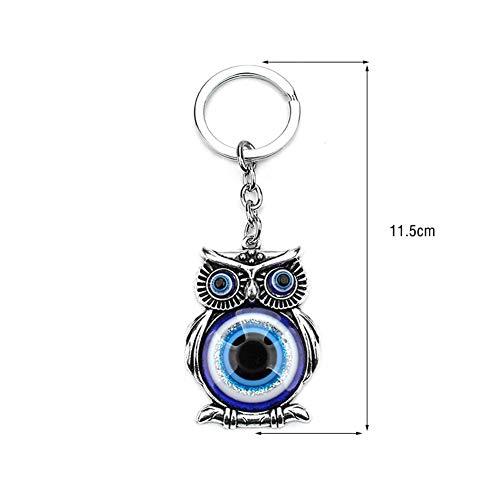 ZRDY 1 Stück Blaues Schlechter Augen-Eulen-Lucky Charm Schutz Quaste Aufhänger Crystals Auto Feng Shui Keychain Schmuck (Color : Blue)