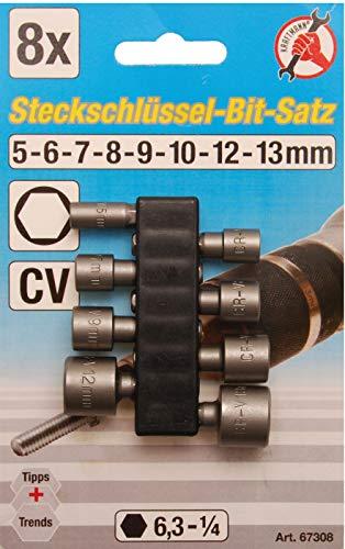 Kraftmann 67308 steeksleutelbitset aandrijving buitenzeskant 6,3 mm (1/4 inch) SW 5-13 mm 8-delig