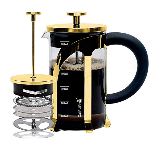 Cafe JEI French Press Coffee and Tea Maker 600ml with 4 Level Filtration System, Stainless Steel, Heat Resistant Borosilicate Glass, Included Coasters (Set of 4) (Gold, 600ml)