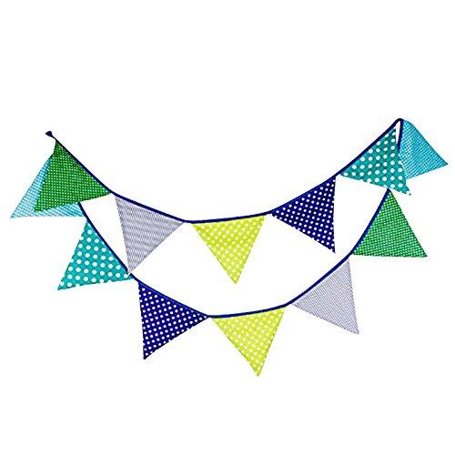 G2PLUS 10 Fuß Colored Wimpel mit 12 Stk Wimpeln, Süße Girlande Wimpelkette Farbenfroh Bunting Wimpeln für Draußen